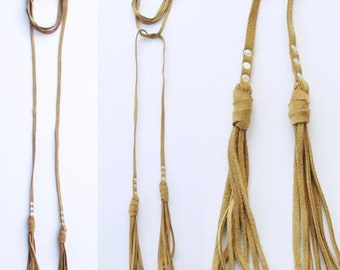 Leather necklace. Leather choker. Lariat necklace. Leather tassel necklace. Leather fringe necklace. Long Leather wrap necklace. Fringe