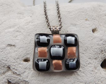 Fused glass necklace,rectangle hand painted fused necklace,checkers on glass,fused gifts
