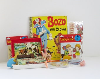 Baby Blocks, Paper Dolls, Dolls, Animal Candle Holders, Bozo the Clown Book, B A B Y Stamps, Photo Display Photo Prop, VINTAGE BABY