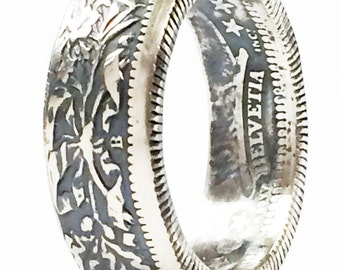 SILVER Handcrafted Coin Ring:   1901-1967 Swiss 2 Franc - Please select SIZE and YEAR below!!