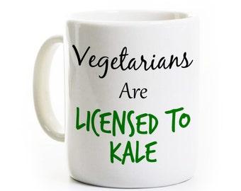 Vegetarian Gift - Coffee Mug for Vegan - Licensed to Kale - Eat Your Vegetables