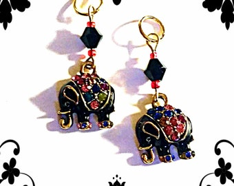 Hearing Aid Charms: Ornate Black Elephants with Glass Accent Beads!