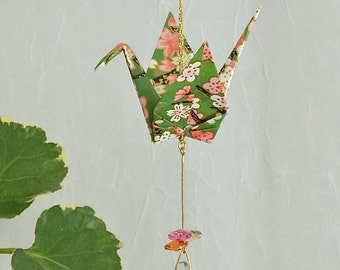 Origami Crane Suncatcher - green paper with flowers, hand varnished, with brilliant Swarovski crystals