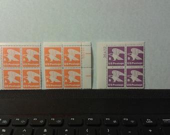 Orange A and Violet B Eagle stamps