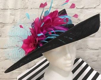 Derby hat black, pink and laggon blue, kentucky derby, royal ascot, wedding
