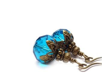 Teal Blue Earrings - London Blue - Wire Wrapped Glass Dangles - Retro Victorian Style Earrings - Yoga Earrings