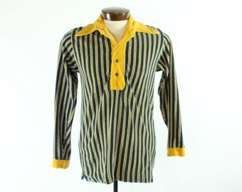 Vintage 70s Velour Shirt Long Sleeve Striped Blue Yellow Collared 1970s Mens Size Medium M Enro Hipster