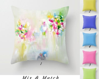 Throw Pillows, Decorative Pillow Covers, White Pink Mint Green Blue Yellow, Floral Pillow Cover, Art Pillows, Solid Color Cushions 20x20