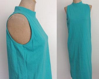 1990's Turquoise Blue Mock Neck Shift Dress Size Medium by Maeberry Vintage