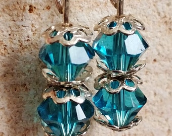 Blue Indicolite Swarovski Dangle Earrings, Blue and Silver Post Earrings