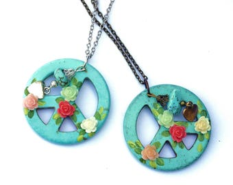 Turquoise Peace Sign Pendant Necklace Bohemian Hippie Flower Jewelry FREE SHIPPING