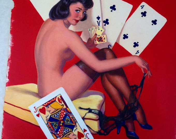 Featured listing image: Estate Sale! Elvgren - STRIP POKER Original Painting 16X20 Rare 1998 Pinup Vancas Pin-Up Losing Cards Exposes Nylons Stockings Game Man Cave
