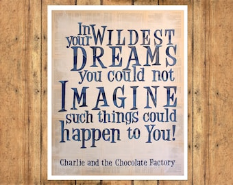 Charlie and the Chocolate Factory Art Print - Collage Typography