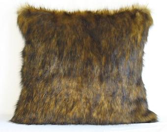 "Siberian Sable Faux Fur Throw Pillow Cover 22""x22"" Rich Accent Pillow Cover Soft Lush Sable"