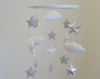Stars and clouds nursery mobile, baby mobile, silver, grey and white stars nursery mobile