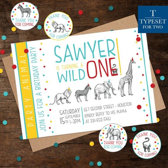 Zoo Wild One Animal Birthday Party Invitation Happy