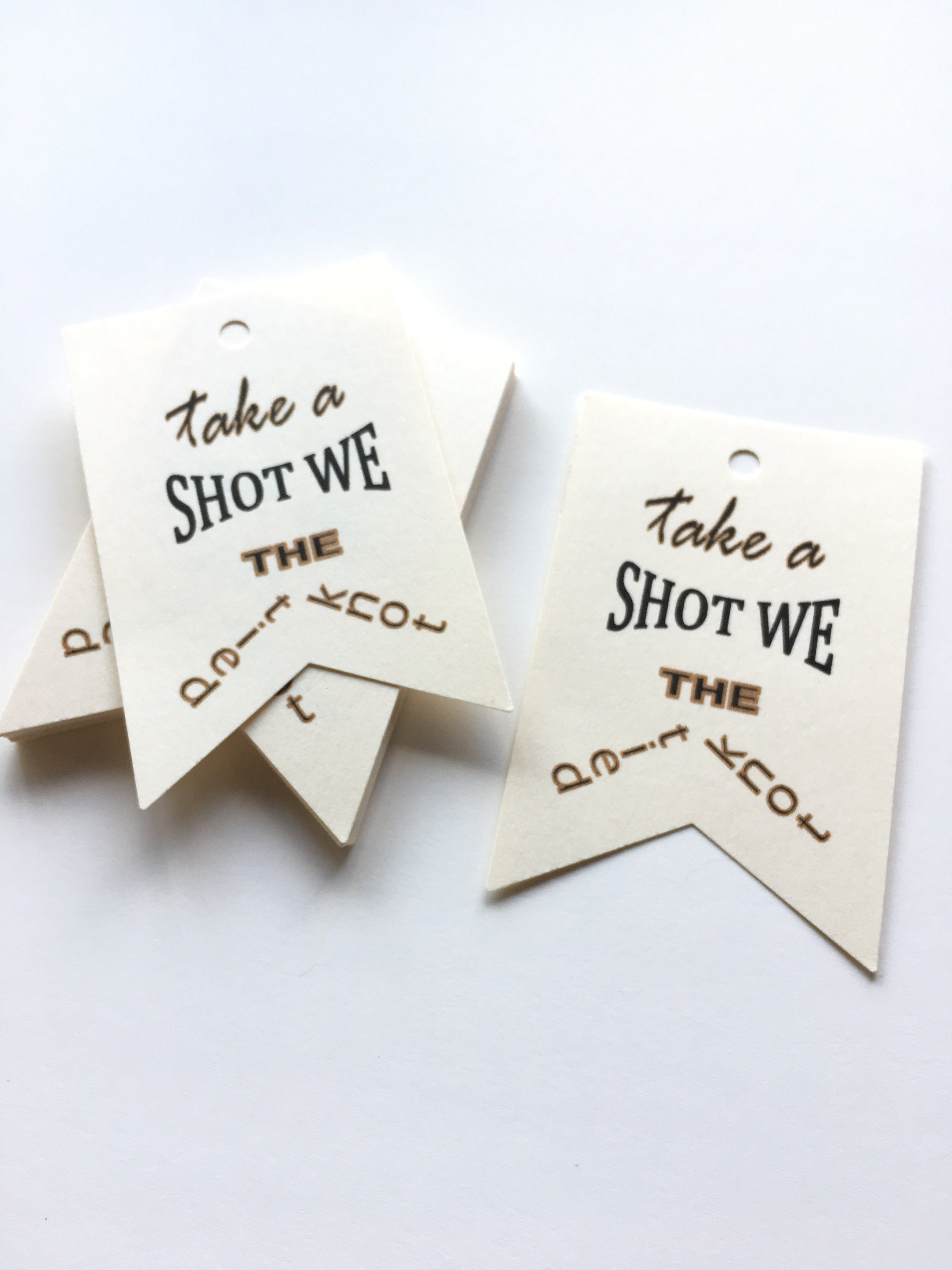 Wedding Favor Tags Take a Shot We Tied the Knot Tags Perfect for ...