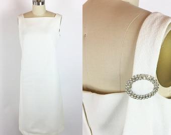 Frauen neue Jahrgang 1960 weißen Strass Cocktail-Party-Kleid