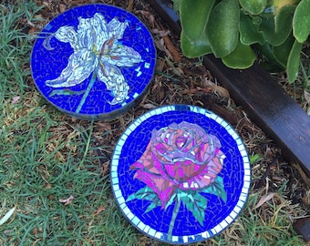 Set of custom designed stained glass flower mosaic garden stepping stones - rose - lily
