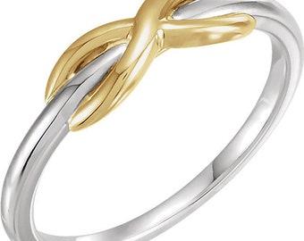 14K White & Yellow Infinity Ring