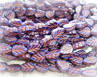 10 Navy Blue & Copper Czech Glass Leaf Beads