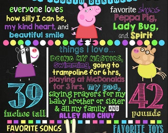 Peppa Pig Birthday Chalkboard Poster DIGITAL FILE