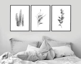Set of 3 Downloadable Prints, Printable Art Set, Botanical Print Set, Botanical Prints, 3 Botanical Prints, Black White, Botanical Art Set