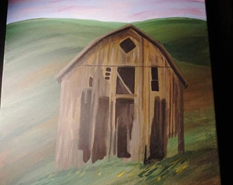 Distressed barn painting