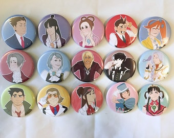 Ace Attorney Pinback Buttons