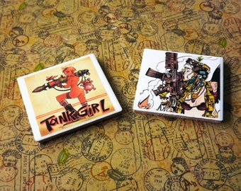 Tank Girl themed handmade tile coasters set of 2, 4 images to choose from