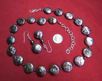 Black Peacock Coin Pearl Necklace Earring Set w Crystals & Sterling Silver
