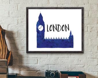 London, England Watercolor Print - Big Ben, Parliament
