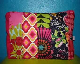 Clutch patchwork quilt lovely flashy fuchsia sunflower & company, 26 x 17 cm