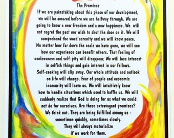 PROMISES AA 11x14 Motivational 12 Step Poster Sobriety Recovery Vigilance Sponsor Inspire Eating Disorder Heartful Art by Raphaella Vaisseau