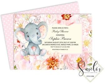 Baby Shower Invitation, Printable Elephant Safari baby Shower Watercolor Flowers Elephant jungle babyGirl, DIGITAL FILES, BS50