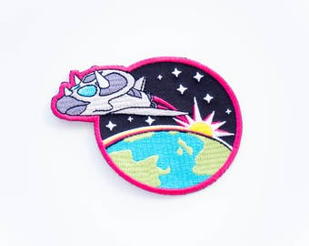 Dinosaur Patch, Triceratops Spaceship, Space Patch, Iron On Patch, Embroidered Patch, Dinosaur Astronaut, Rocket Patch, The Adventure Zone