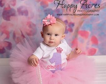 Pink Tutu, baby tutu and vintage style headband, newborn tutu, photogpraphy prop