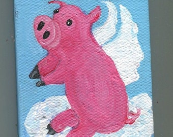 Flying Pig mini canvas painting, OOAK mini canvas art, mini easel, original pig painting, pigs with wings
