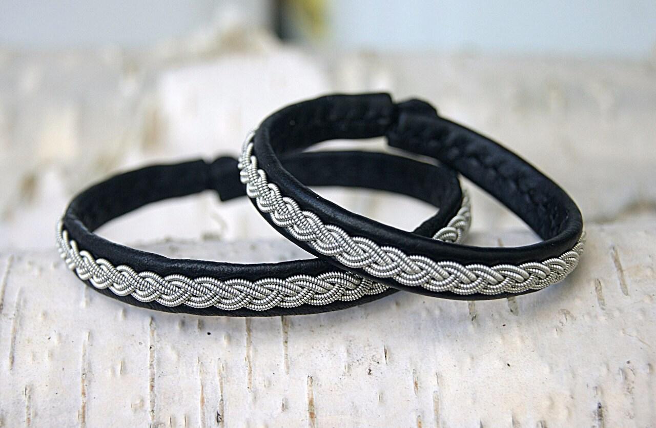 Sami Lappland Wikinger-Armreif Herren-Brlack-Leder-Armband