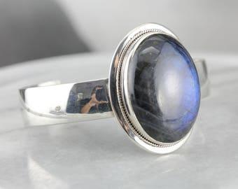 Bold Labradorite Cuff Bracelet, Large Gemstone Bracelet, Sterling Silver Bracelet VW57XP-R