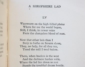 A Shropshire Lad - Vintage Poetry Book - Literary Gift - Classic English Literature - Poetry Gift -A. E. Housman -Old Poems -Graduation Gift