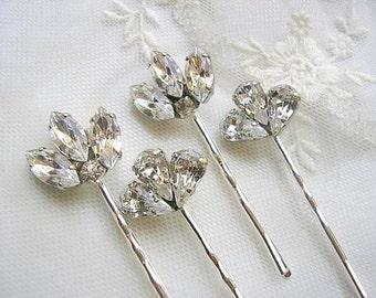 Bridal hair pins, wedding hair accessories, Crystal hair pins, hair jewelry, wedding hairpiece, vintage style,bridesmaid gift,Set of 4 ,