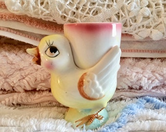 Baby chick egg cup, pottery, kitschy, vintage kitchen,  figurine, chicken, egg