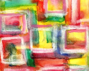 Original Abstract Squares Watercolor Mini Painting by Ryan O'Neill