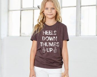 Heels Down Thumbs Up Horse T-Shirt for Kids, Relax Fit Boys or Girls
