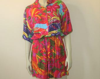 1980s Playsuit Romper Tropical Print Size Medium