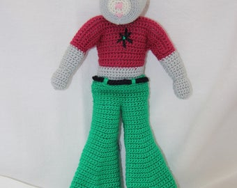 Dark pink top mouse hand crocheted green pants