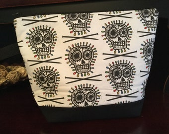 Bad Ass Knitter, Skulls and knitting needles, Large sized Zippered Knitting Project Bag