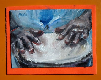 """miniature Oil Painting, small aceo Original Oil Painting, art & collectibles, 2.5x3.5"""", """"Bongo!"""""""