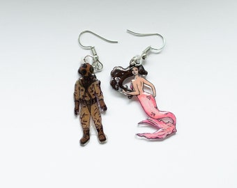 Mermaid and Diver Earrings